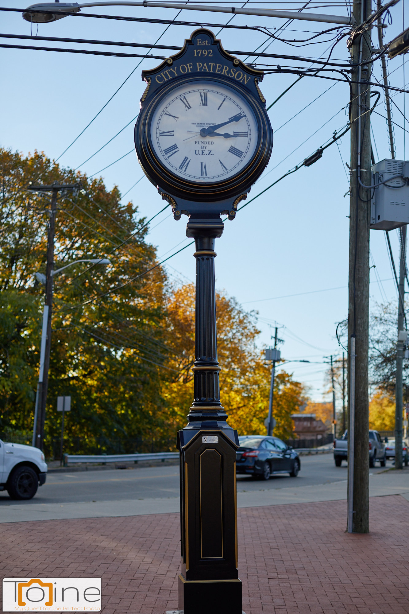 Old fashioned looking clock in historic Paterson.