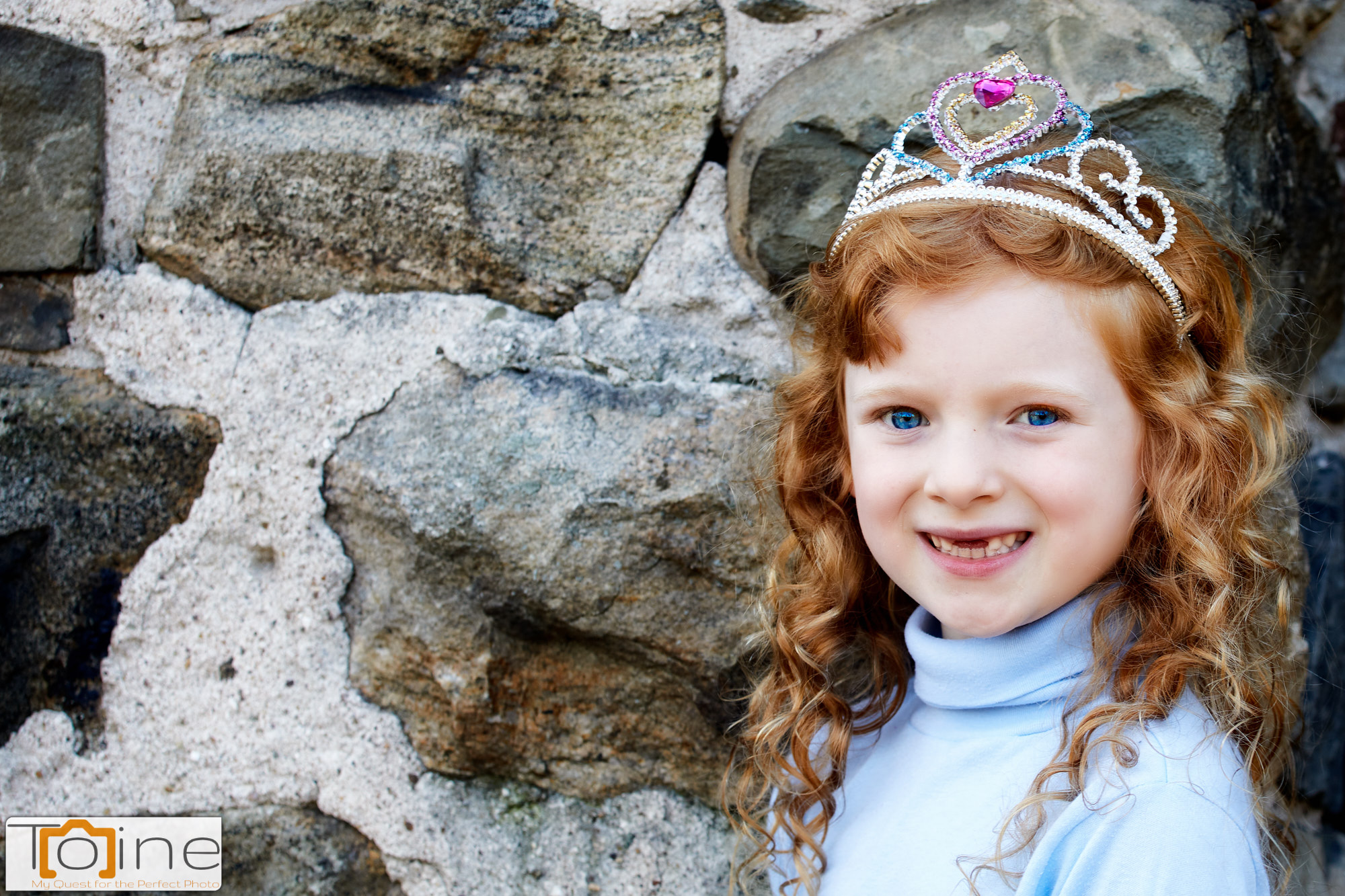 I just love how her eyes and hair pop against these stones. She was very proud of her crown, so we let her wear it for the first few photos.